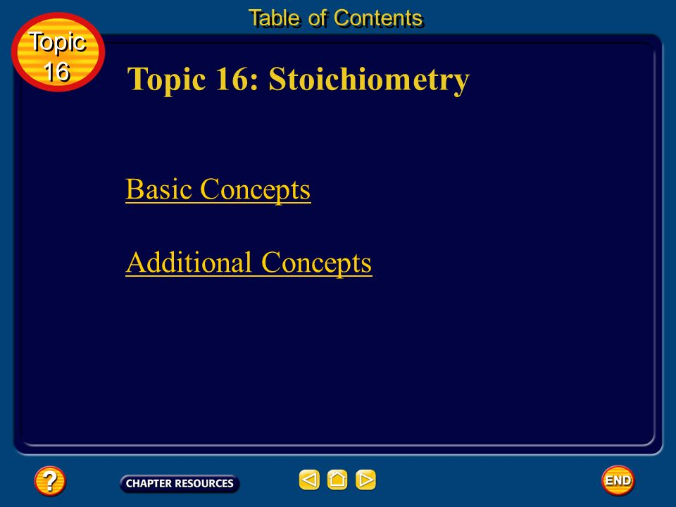 Topic 16: Stoichiometry Basic Concepts Additional Concepts Topic 16