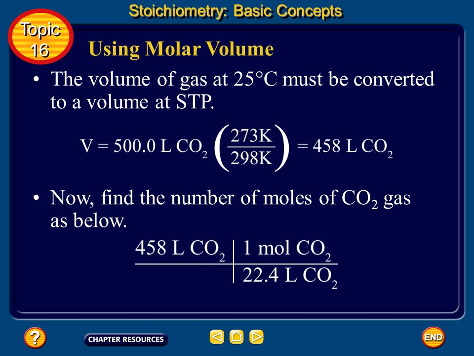 The volume of gas at 25°C must be converted to a volume at STP.