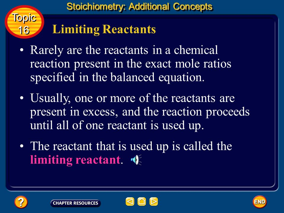 The reactant that is used up is called the limiting reactant.