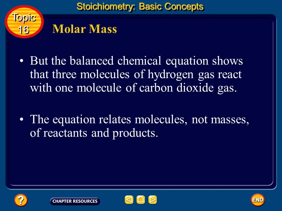 The equation relates molecules, not masses, of reactants and products.