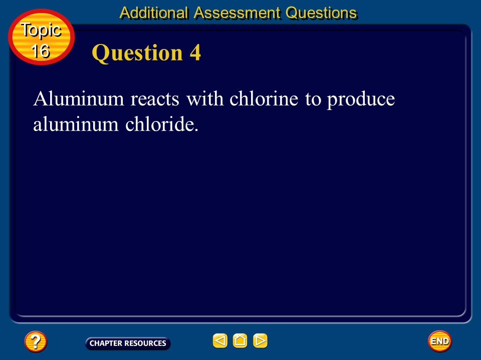 Question 4 Aluminum reacts with chlorine to produce aluminum chloride.