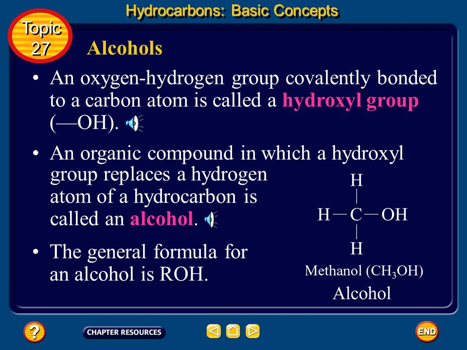 group replaces a hydrogen atom of a hydrocarbon is called an alcohol.