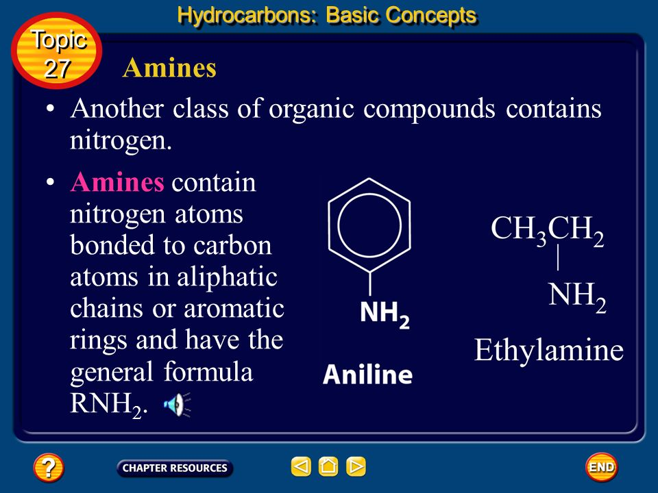 Another class of organic compounds contains nitrogen.