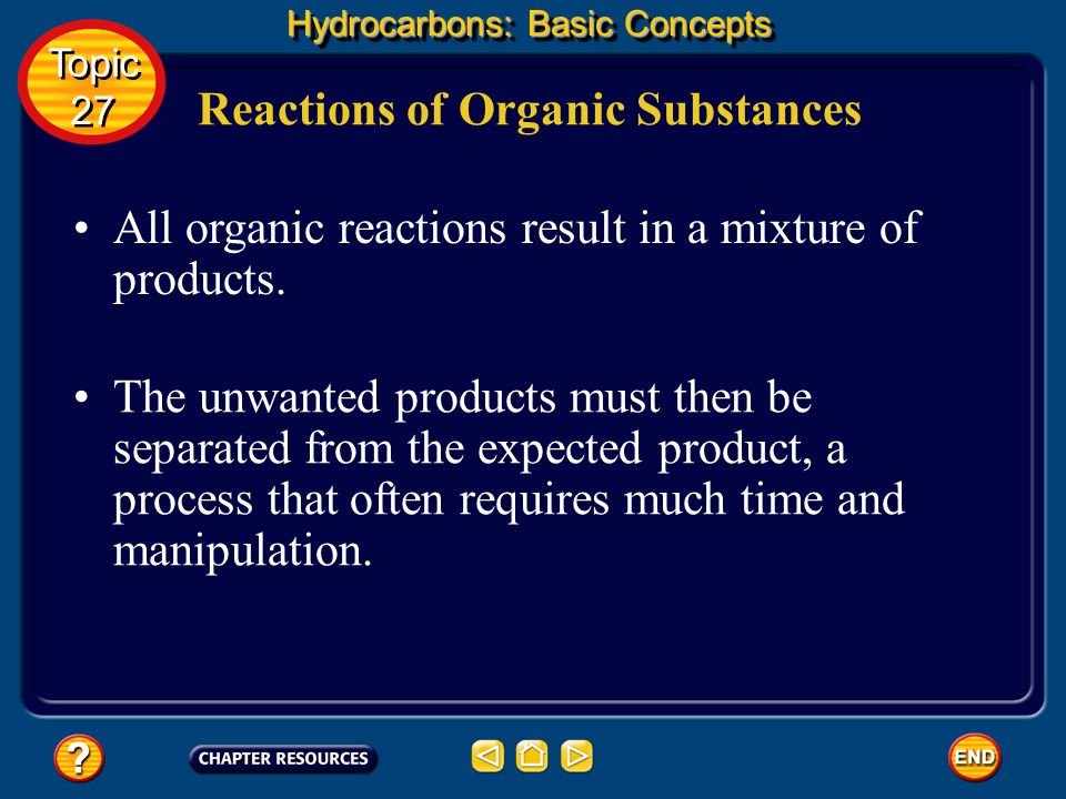 Reactions of Organic Substances