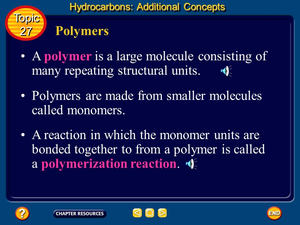 Polymers are made from smaller molecules called monomers.