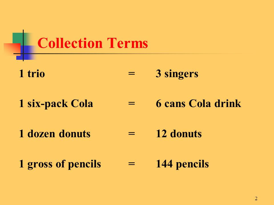 Collection Terms 1 trio = 3 singers
