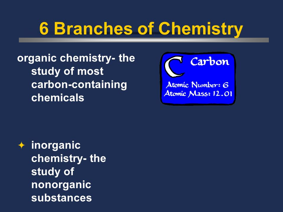 6 Branches of Chemistry organic chemistry- the study of most carbon-containing chemicals.