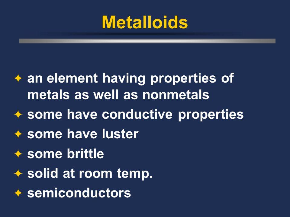 Metalloids an element having properties of metals as well as nonmetals