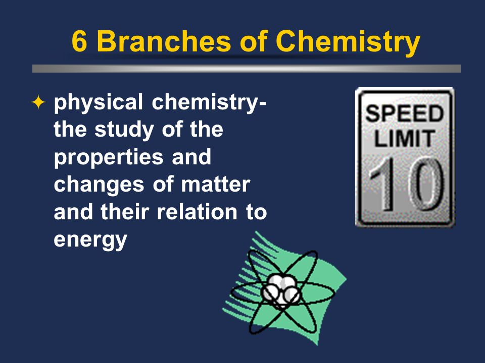 6 Branches of Chemistry physical chemistry- the study of the properties and changes of matter and their relation to energy.
