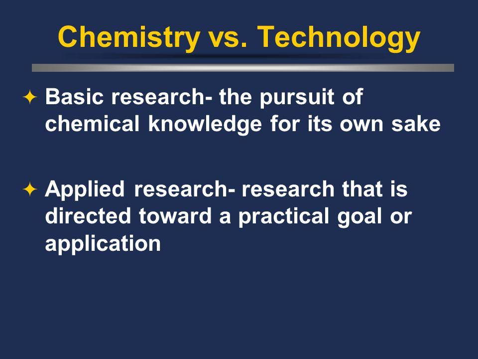 Chemistry vs. Technology