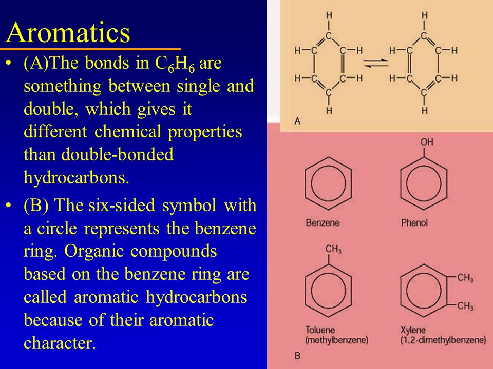 Aromatics (A)The bonds in C6H6 are something between single and double, which gives it different chemical properties than double-bonded hydrocarbons.