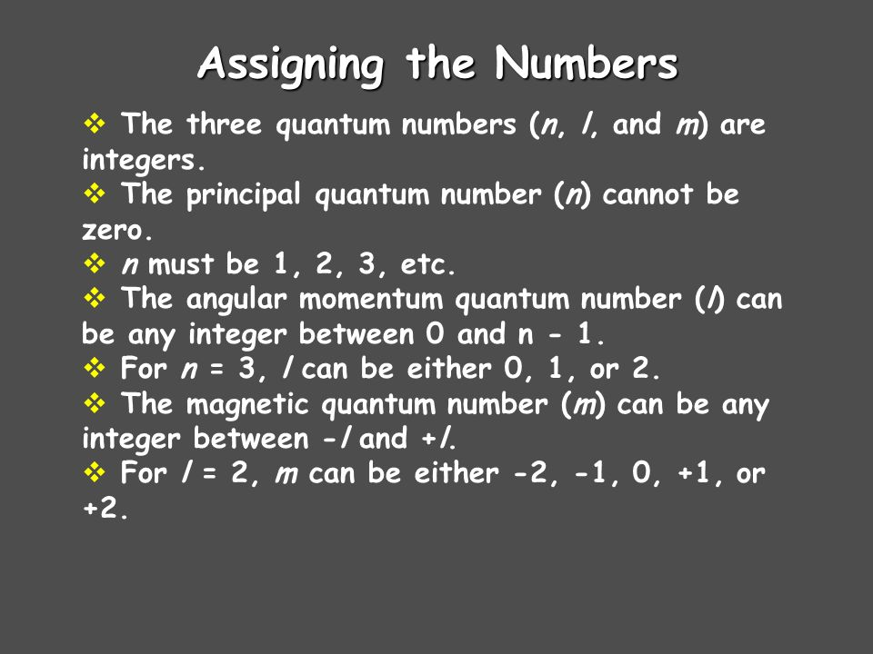 Assigning the Numbers The three quantum numbers (n, l, and m) are integers. The principal quantum number (n) cannot be zero.