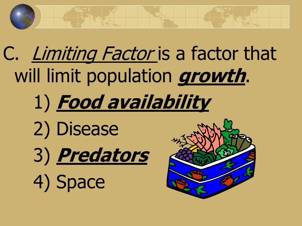 C. Limiting Factor is a factor that will limit population growth.