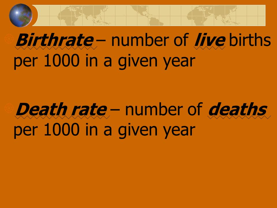 Birthrate – number of live births per 1000 in a given year