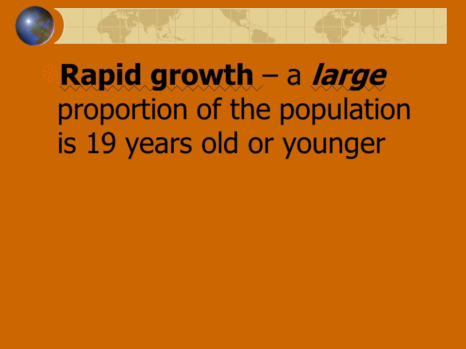 Rapid growth – a large proportion of the population is 19 years old or younger