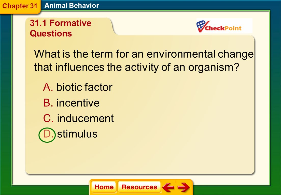 What is the term for an environmental change