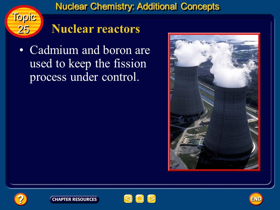 Cadmium and boron are used to keep the fission process under control.