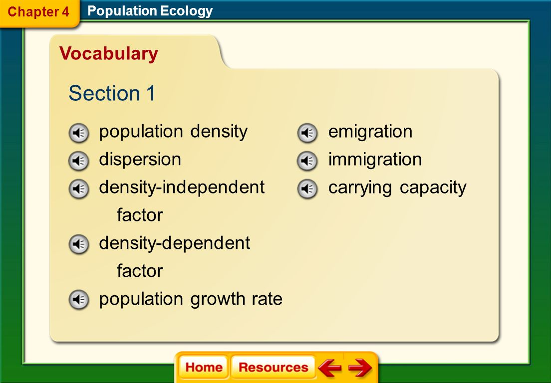 Section 1 Vocabulary population density dispersion