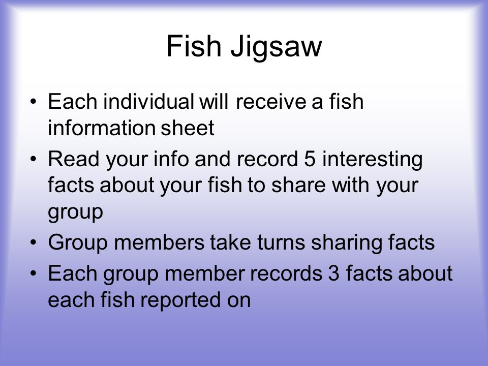 Fish Jigsaw Each individual will receive a fish information sheet