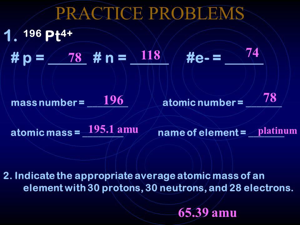 PRACTICE PROBLEMS 196 Pt4+ # p = _____ # n = _____ #e- = _____