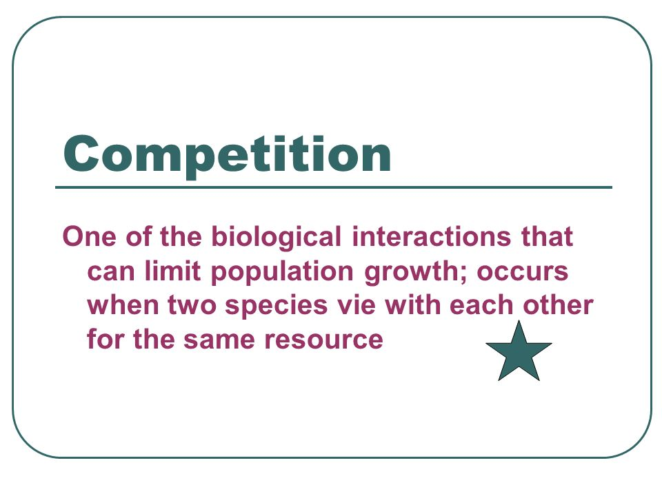Competition One of the biological interactions that can limit population growth; occurs when two species vie with each other for the same resource.