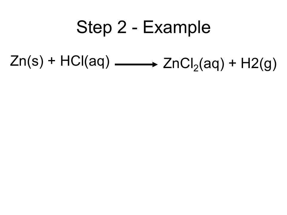Step 2 - Example Zn(s) + HCl(aq) ZnCl2(aq) + H2(g)