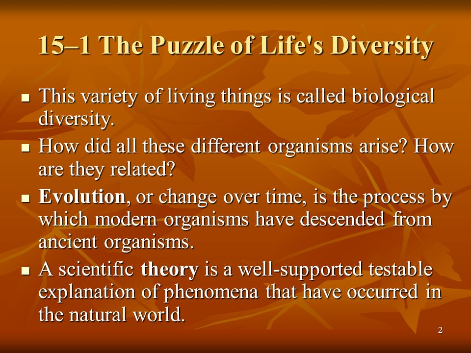 15–1 The Puzzle of Life s Diversity