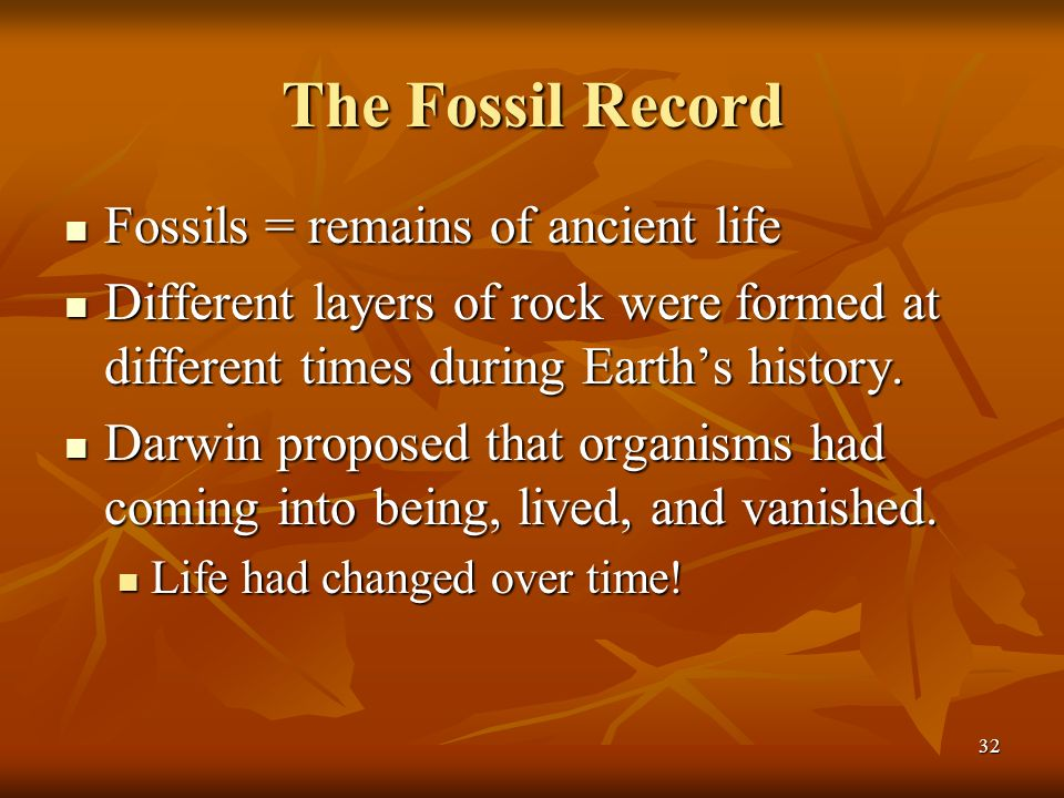 The Fossil Record Fossils = remains of ancient life