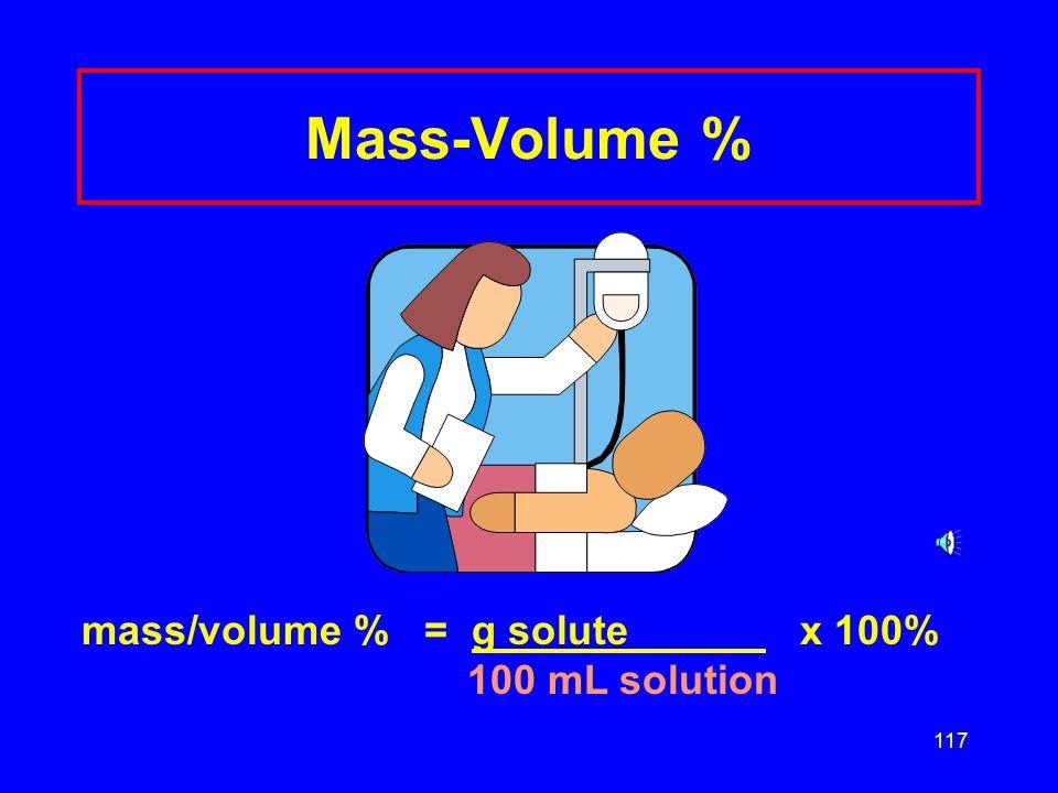 Mass-Volume % mass/volume % = g solute x 100% 100 mL solution