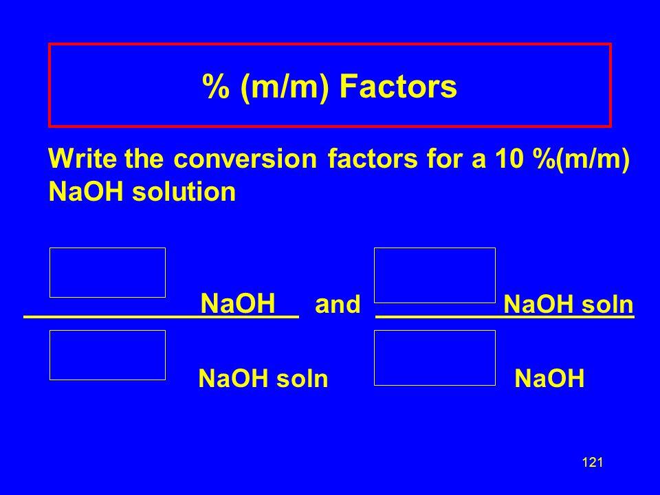 % (m/m) Factors NaOH and NaOH soln