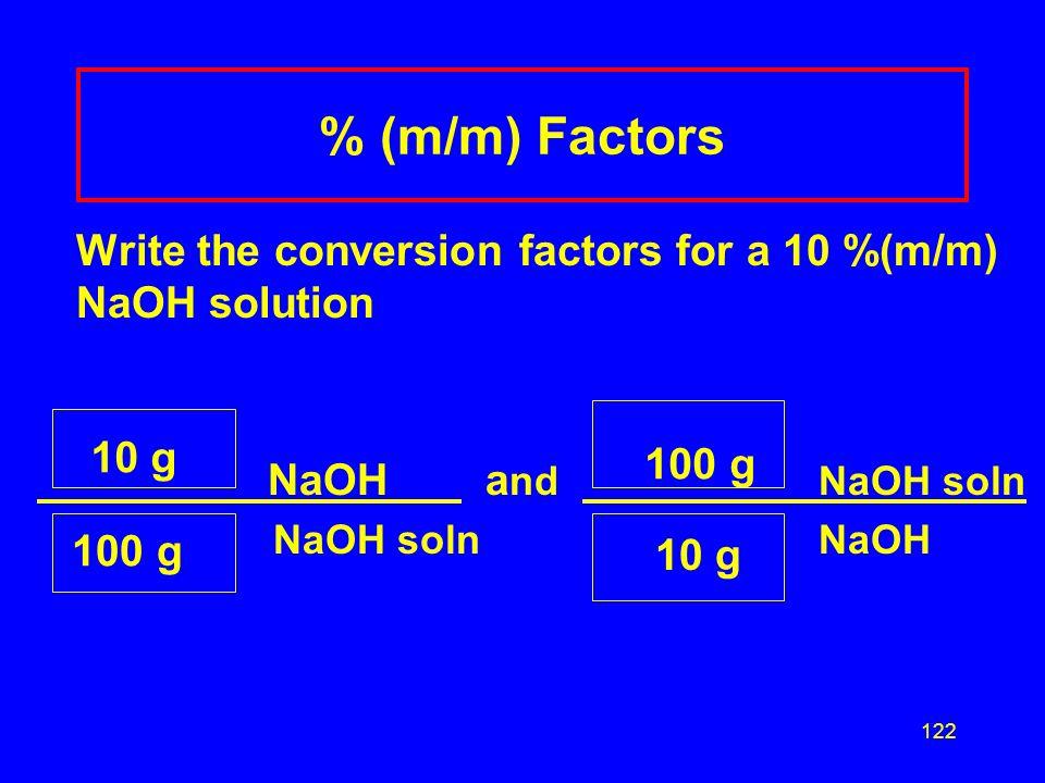 % (m/m) Factors NaOH and NaOH soln 10 g 100 g 100 g 10 g