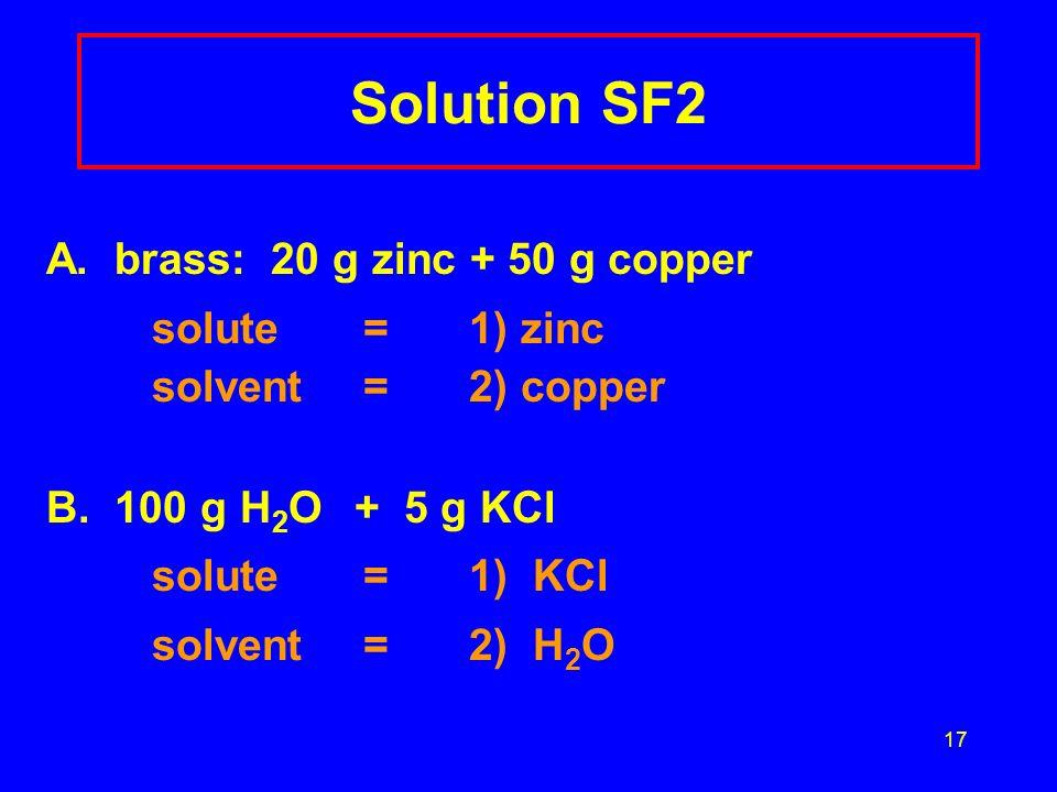 Solution SF2 A. brass: 20 g zinc + 50 g copper
