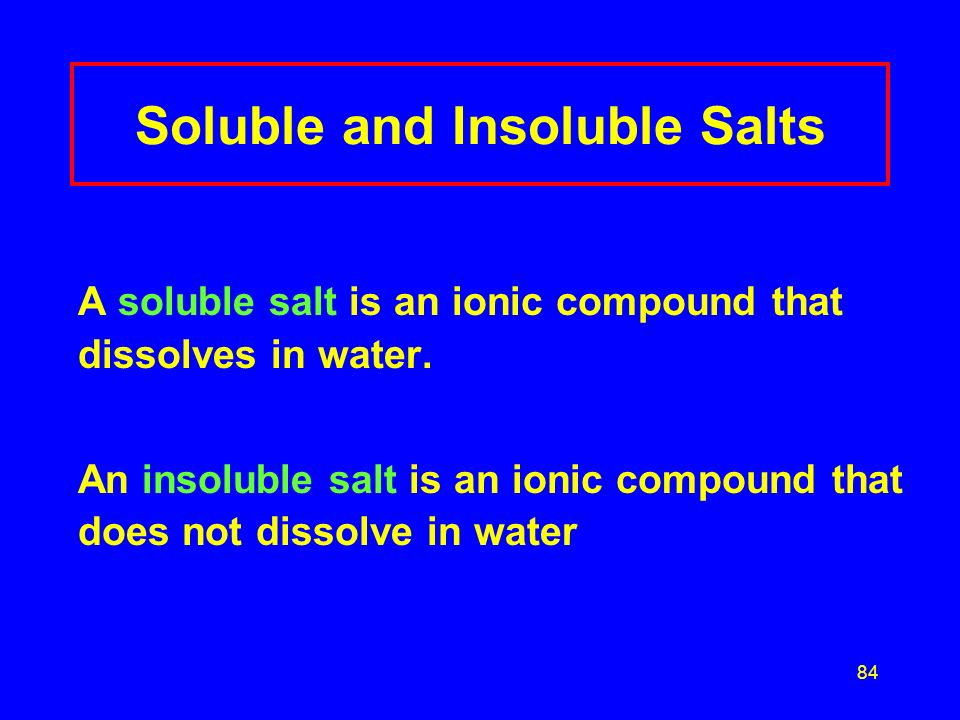 Soluble and Insoluble Salts