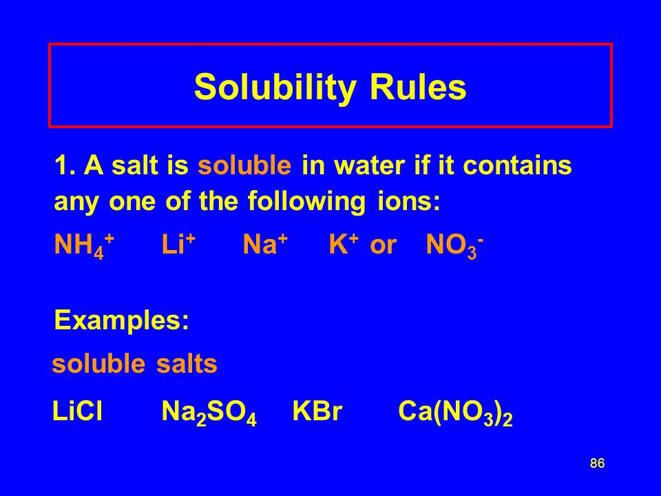 Solubility Rules NH4+ Li+ Na+ K+ or NO3- Examples: soluble salts