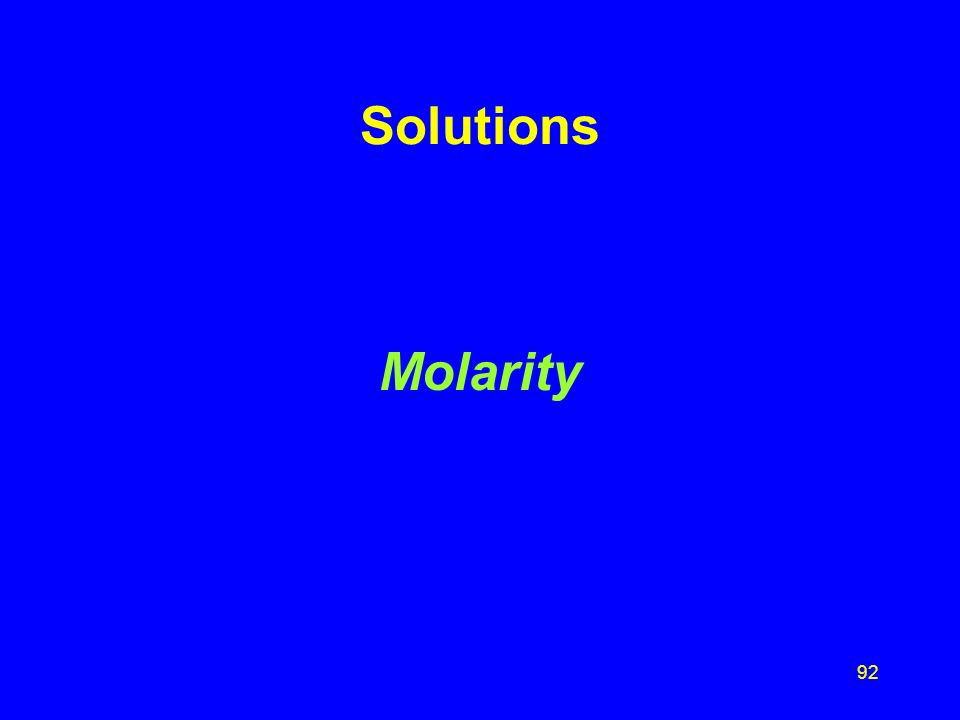 Solutions Molarity
