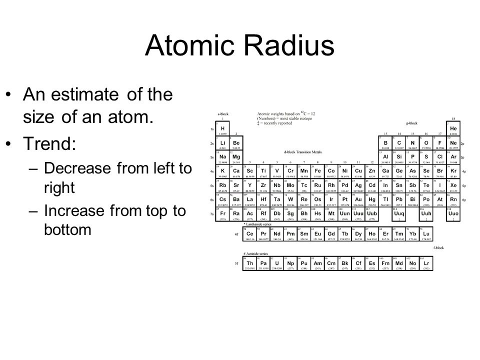 Atomic Radius An estimate of the size of an atom. Trend: