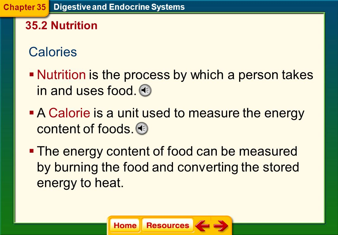 Nutrition is the process by which a person takes in and uses food.