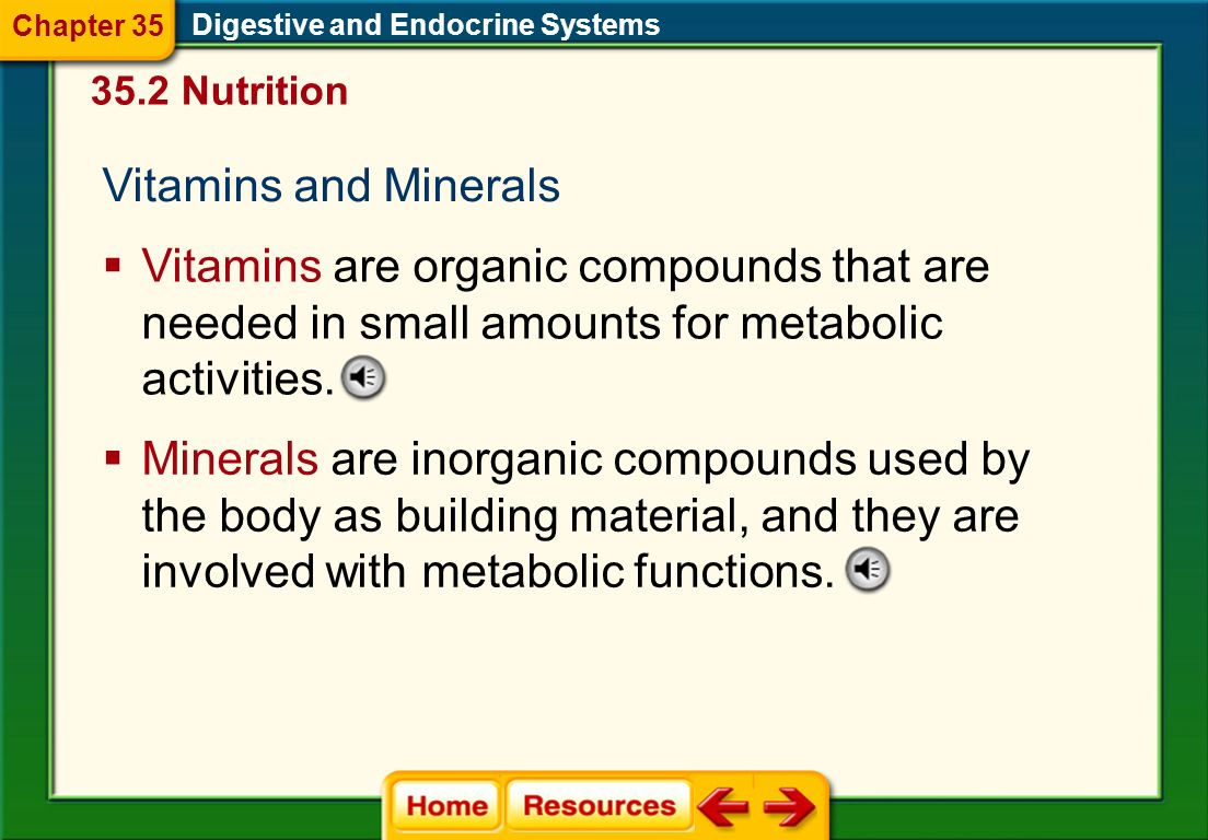 Chapter 35 Digestive and Endocrine Systems. 35.2 Nutrition. Vitamins and Minerals.