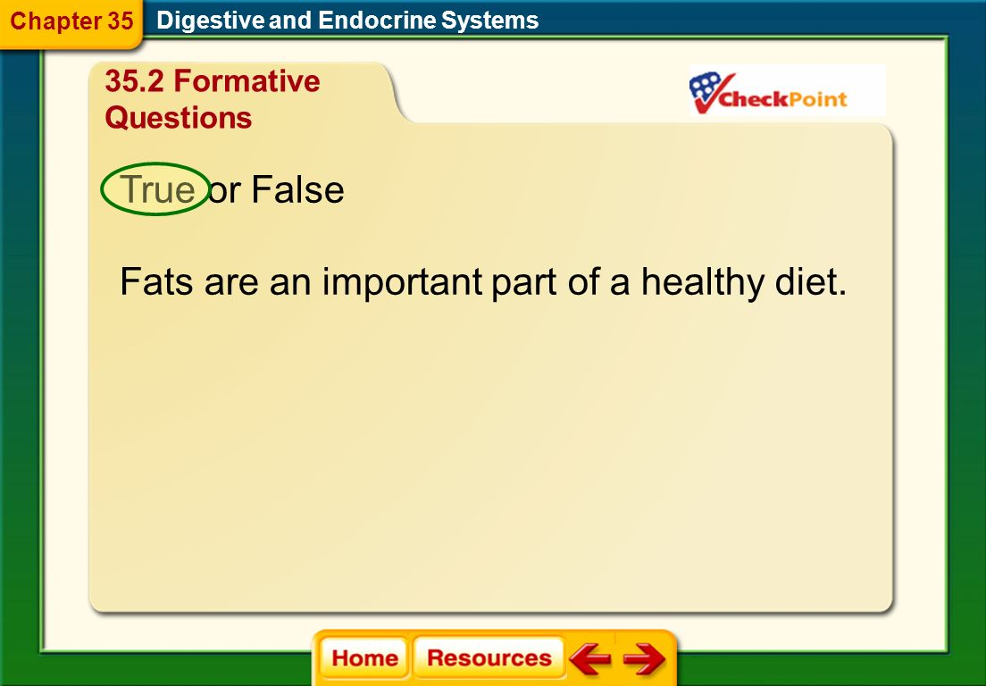 Fats are an important part of a healthy diet.