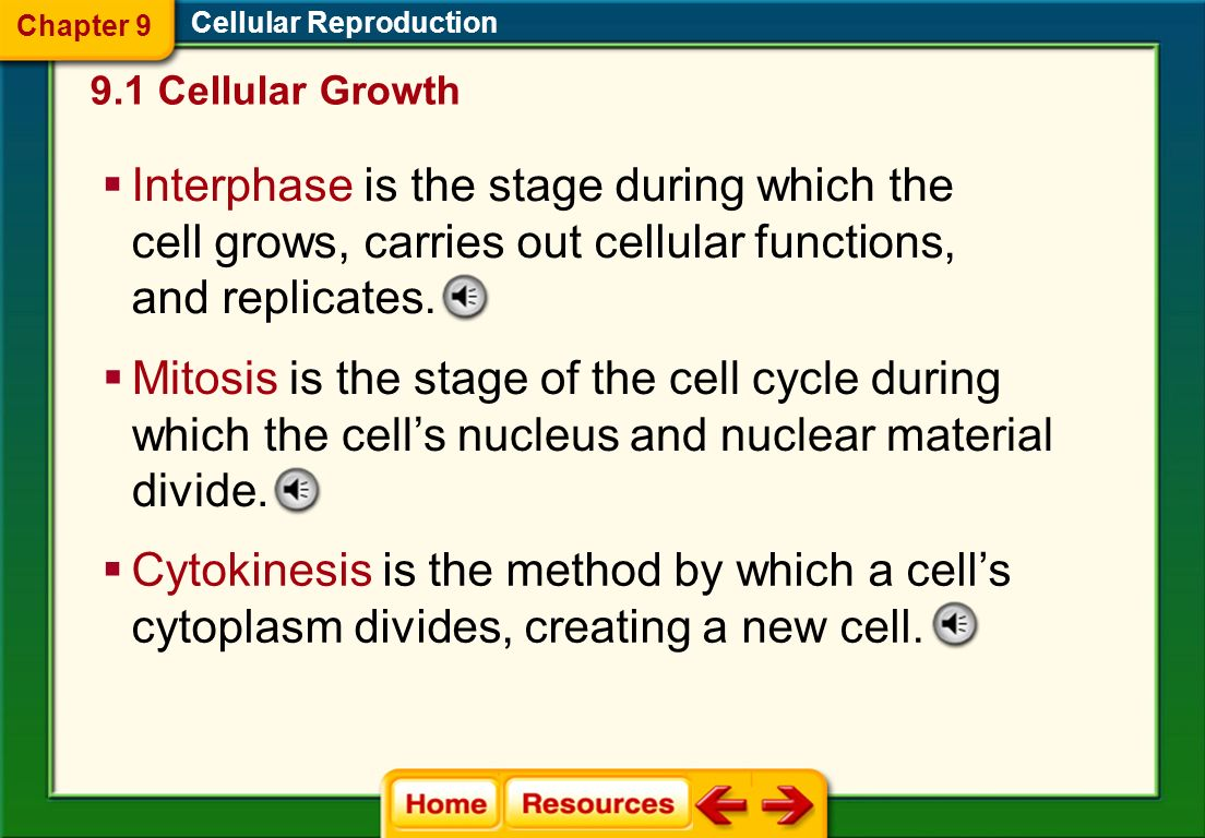 Chapter 9 Cellular Reproduction. 9.1 Cellular Growth.