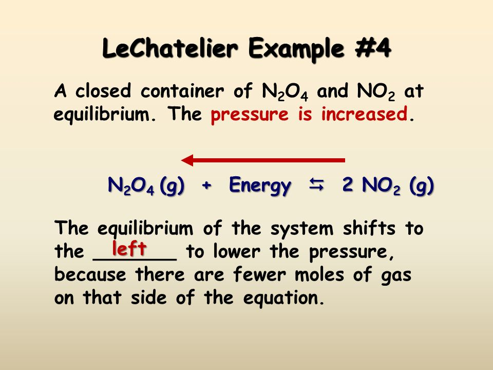 LeChatelier Example #4 A closed container of N2O4 and NO2 at equilibrium. The pressure is increased.