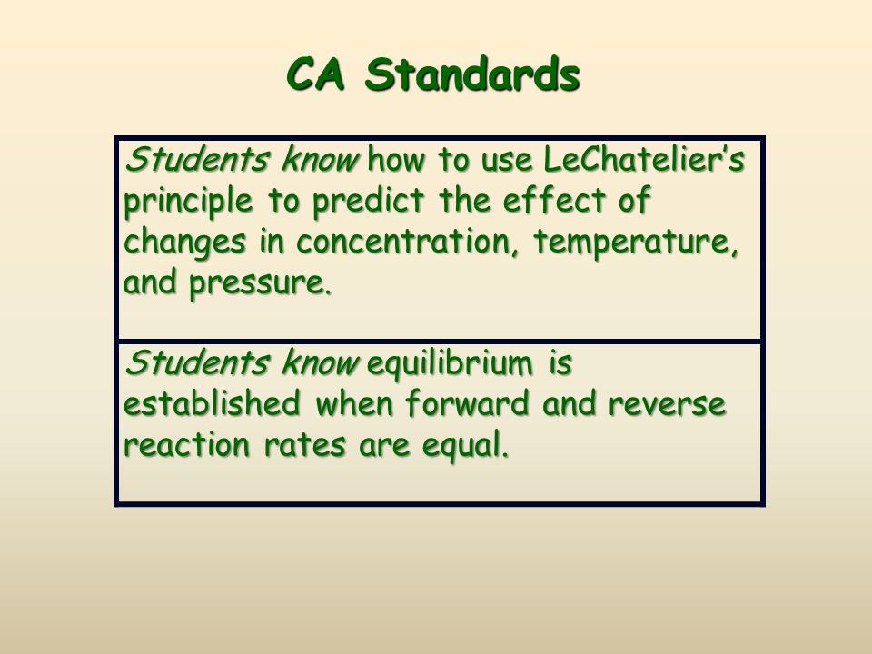 CA Standards Students know how to use LeChatelier's principle to predict the effect of changes in concentration, temperature, and pressure.