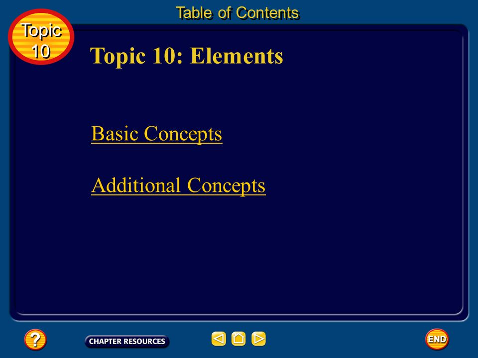 Topic 10: Elements Basic Concepts Additional Concepts Topic 10