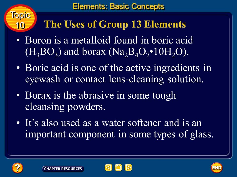 The Uses of Group 13 Elements