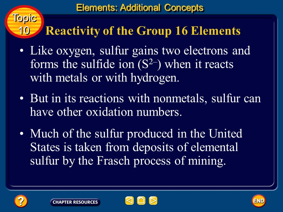 Reactivity of the Group 16 Elements