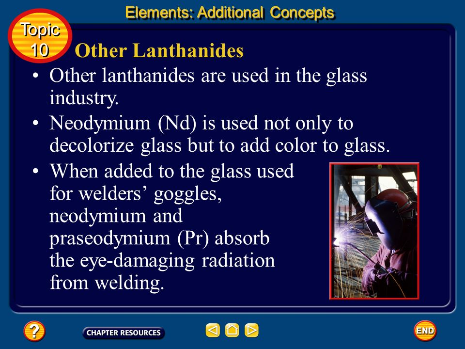 Other lanthanides are used in the glass industry.