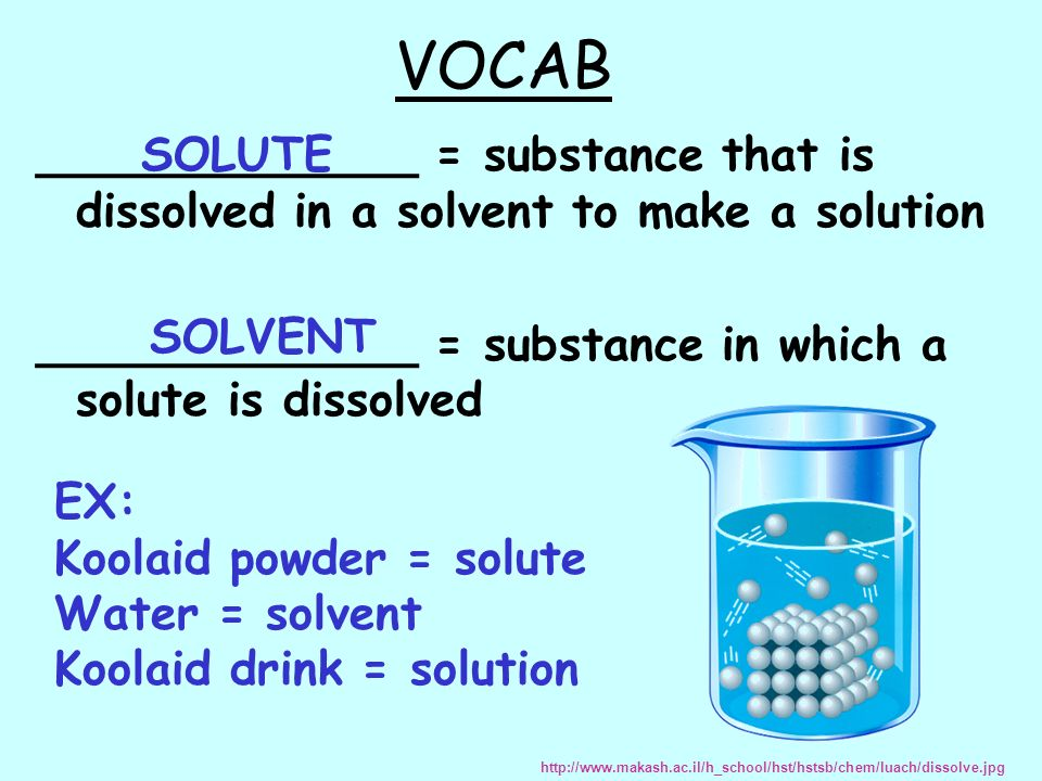 VOCAB _____________ = substance that is dissolved in a solvent to make a solution. _____________ = substance in which a solute is dissolved.