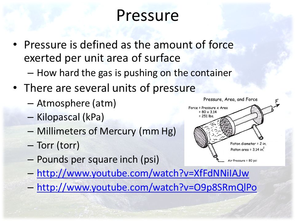 Pressure Pressure is defined as the amount of force exerted per unit area of surface. How hard the gas is pushing on the container.