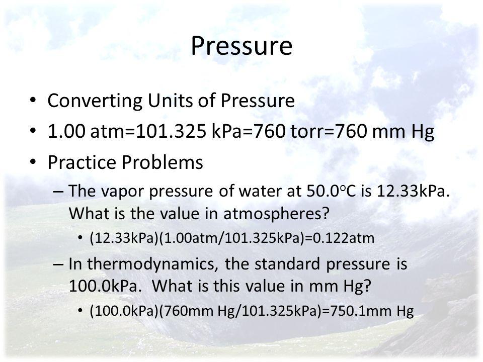 Pressure Converting Units of Pressure