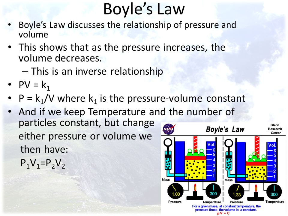 Boyle's Law Boyle's Law discusses the relationship of pressure and volume. This shows that as the pressure increases, the volume decreases.